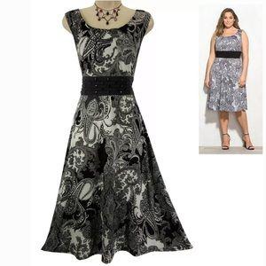 18W 2X▪️BLACK & WHITE BEADED PAISLEY DRESS Plus Sz